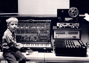 6-year-old Geoffrey with ARP 2600 synthesizer Electronic music lab, University of Wisconsin Eau Claire. Recordings I made with this instrument on 4-track reel-to-reel tape became the raw material for my electronica collaboration Montre Echo: The Near Forever