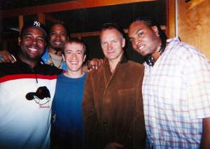 Christian McBride 'Vertical Vision' recording session (2003) L to R: Christian McBride, Ron Blake, GK, Sting, Terreon Gully