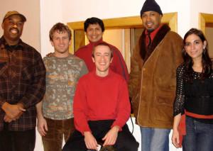 Recording GK's Grammy-nominated CD 'AUREA' L to R: Essiet Essiet, Jon Wikan, Hugo Alcazar, GK, Ron Blake, Sofia Rei Koutsovitis